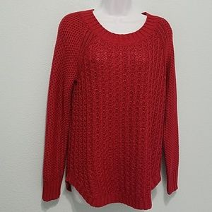 Calvin Klein Jeans Size M  Cable Knit Sweater Red